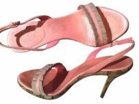 Gucci Classic Monogram Chocolate with Pink Accent Sandals
