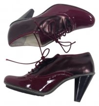 Taryn Rose Patent Two Tone Maroon and Bronze Boots