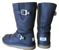 UGG Boots Leather Winter Motorcycle Black Boots