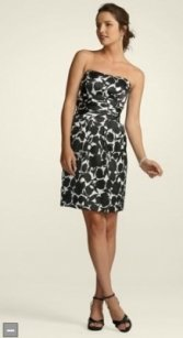 David's Bridal Black Slim Charmeuse Print Dress With Ruched Dress