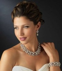Elegance By Carbonneau Light Ivory Pearl And Rhinestone Set