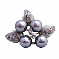 Grey Flower Pearls Brooch Silver Leaves