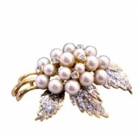 Ivory Pearls Brooch Fancy Gold Brooch
