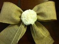 Set Of 12 Rustic Wired Burlap Ribbon W/
