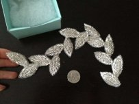Hair Clip - Silver Bugle Beaded Vine -