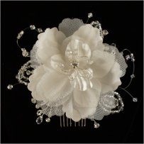 White Flower Fabric Crystal Bridal Hair