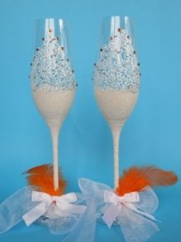 Hand Painted Wedding Toasting Flutes Of