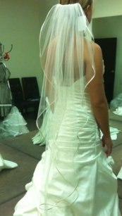 Ivory Veil With Satin Trim