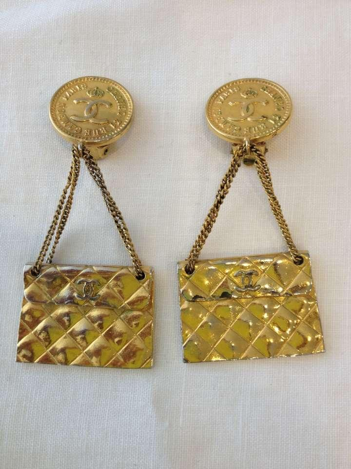 Authentic Vintage Chanel Purse Earrings Tradesy