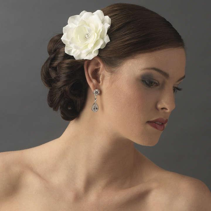 White Wedding Hairstyles: Elegance By Carbonneau White Jeweled Wedding Hair Flower