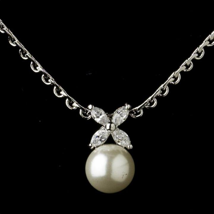 Elegance by carbonneau diamond white pearl and cz jewelry for Diamond pearl jewelry sets