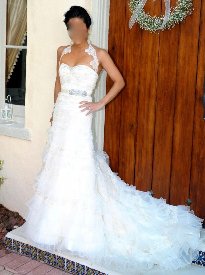 Oleg Cassini Cwg352 Lace Tulle With Added Alterations Wedding Dress T