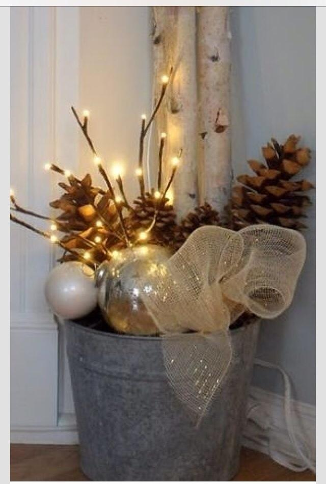 Lighted tree branches centerpieces