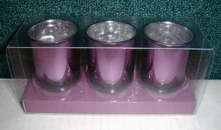 Lot Of 51 Metallic Purple Candle Holders With Candles