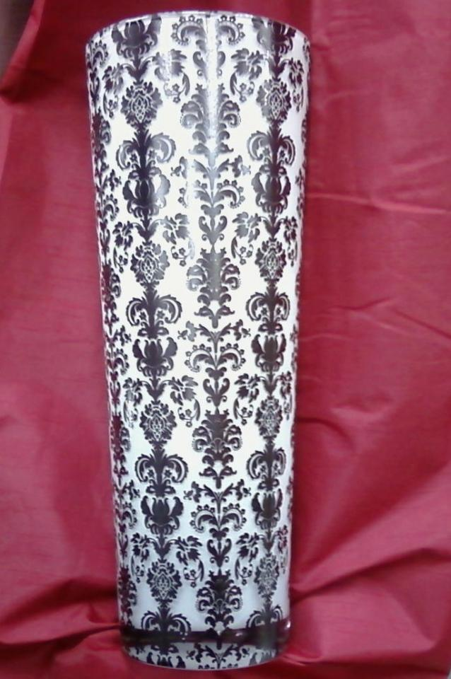 Tall glass damask vases black and white gorgeous