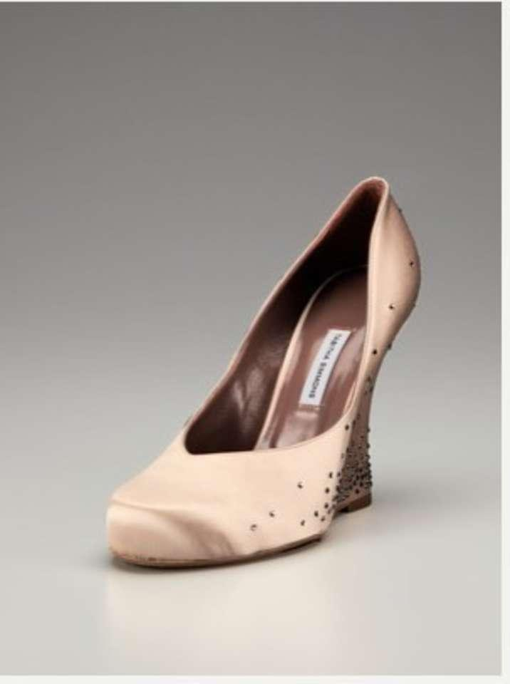 simmons wedge satin pink wedding shoes