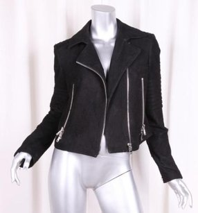 J Brand J Womens Lamb Leather Suede Moto Motorcycle Biker Black Jacket