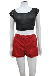J Brand High Rise Sateen Side Zip Shorts Red