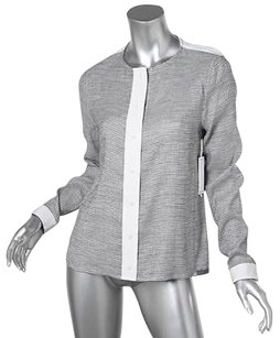 J Brand J Womens Striped Linen Blend Shirt Top White