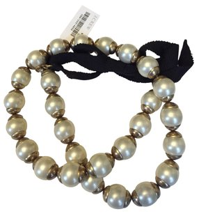 J.Crew Jcrew Pearl Necklace With Gold And Black Accents