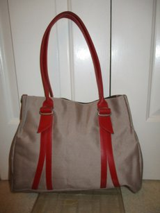 Jack Gomme Leather Canvas Tote in khaki & red