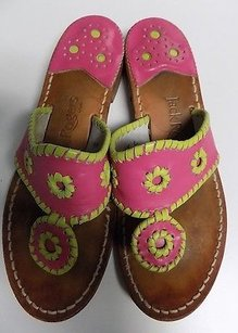 Jack Rogers Bright Pink And Green Sandals