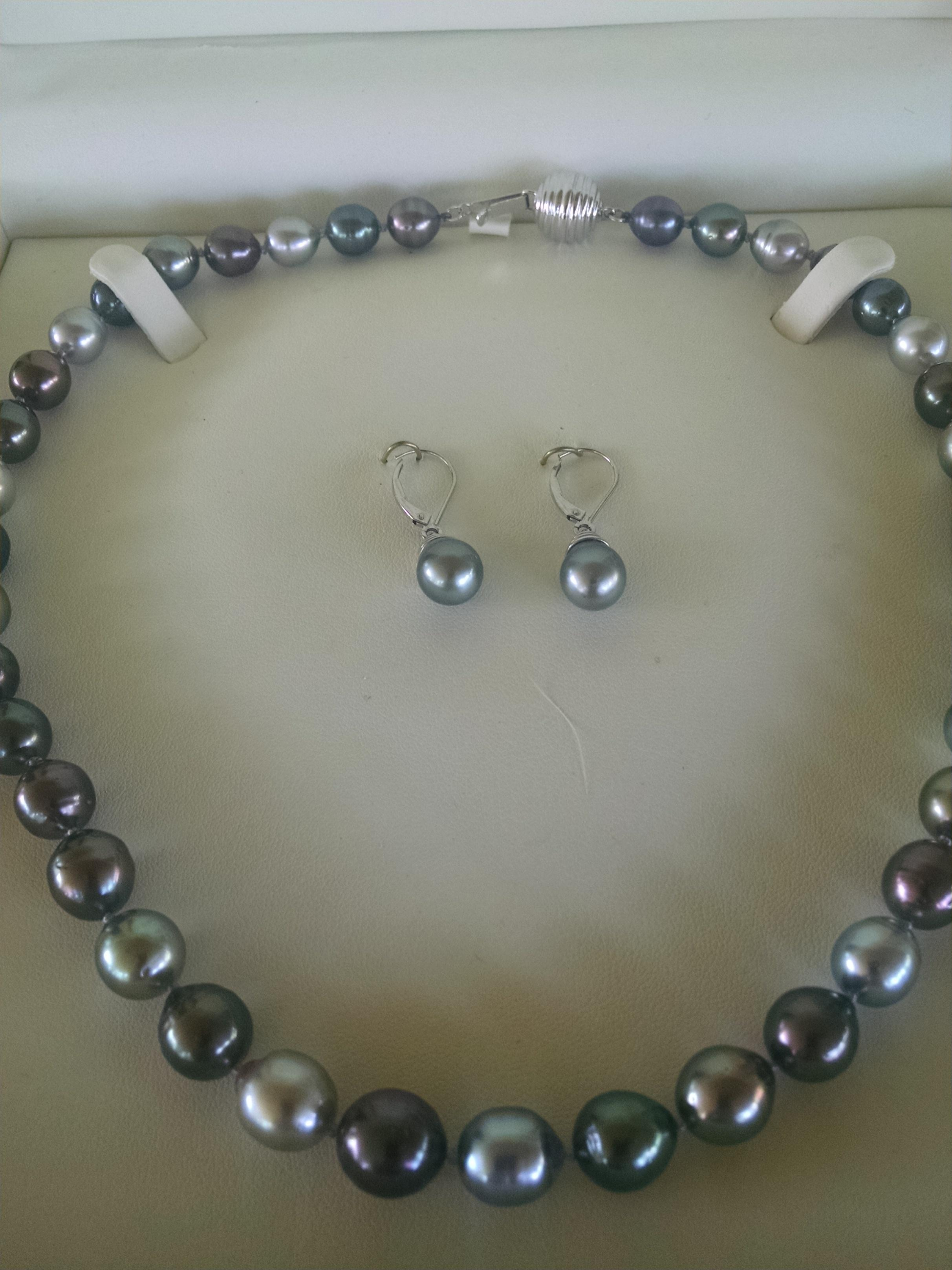 Jared Tahitian Silver Pewter Pearl and Earrings Set Necklace Tradesy