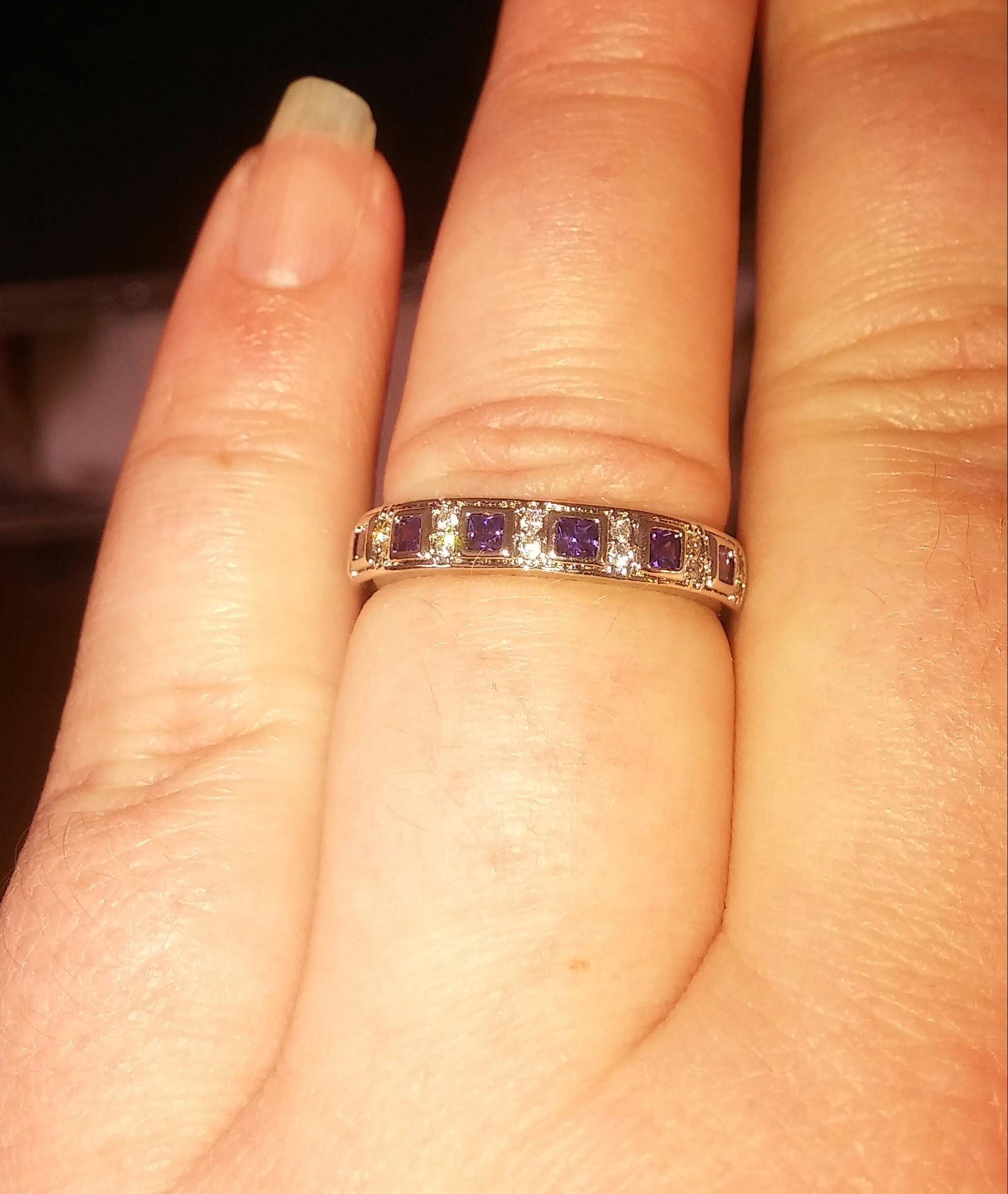 Jared White Gold ToneSilver Purple Gemstone Block Eternity Band
