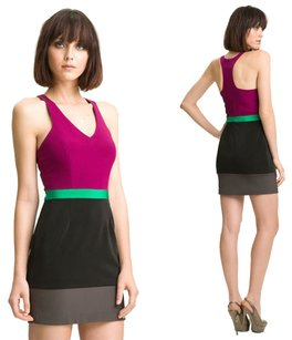 Jay Godfrey Colorblock Silk Contrast Mini Racerback Dress