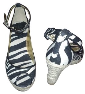 J.Crew Ankle Strap Sandal Leather Piping zebra print Wedges