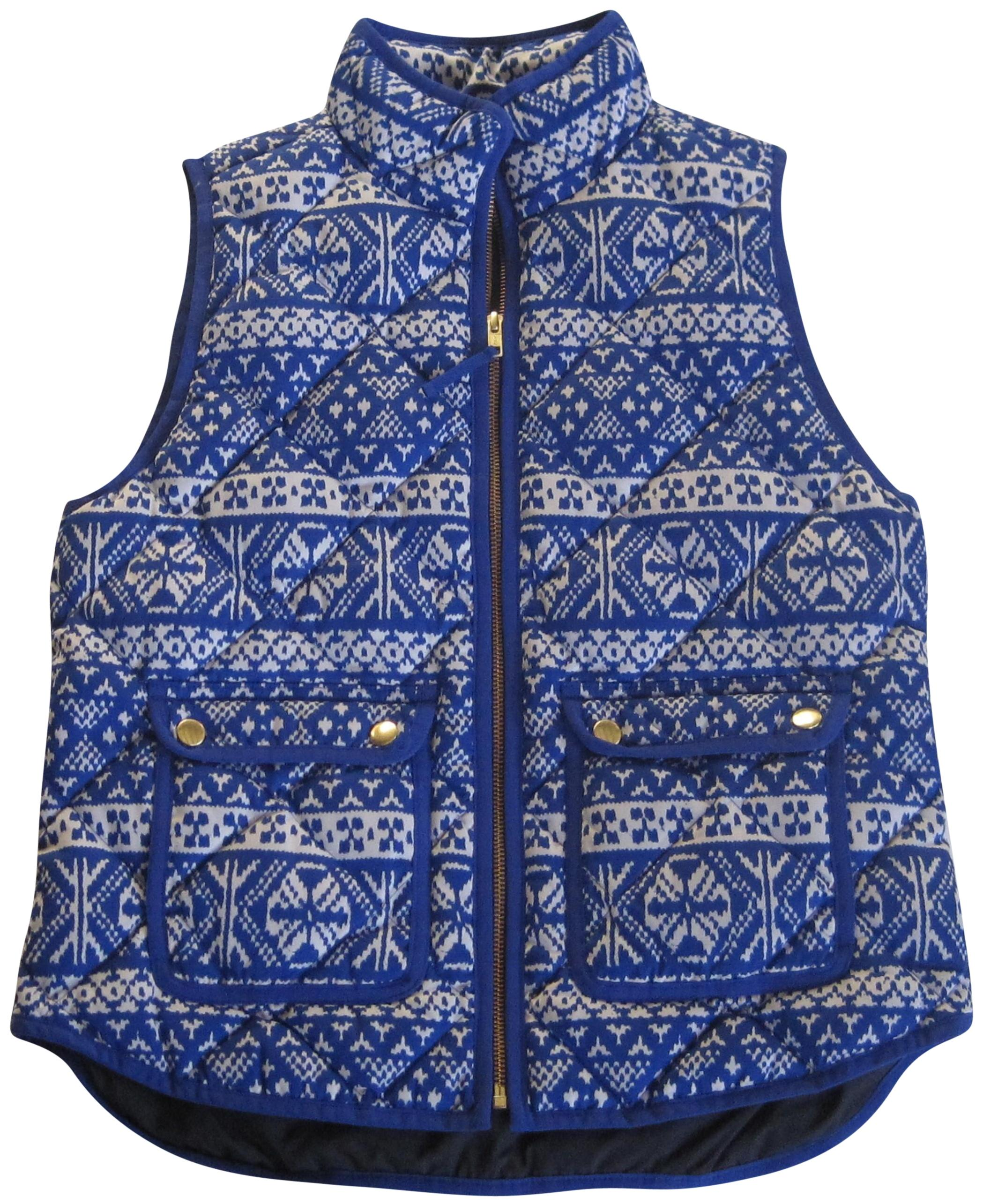 J.Crew Blue Excursion Quilted Down Fair Isle Printed Vest Size ...