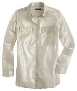J.Crew Button Down Shirt Metallic Gold