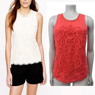 J.Crew Embroidered Eyelet Scallop Orange Top Red