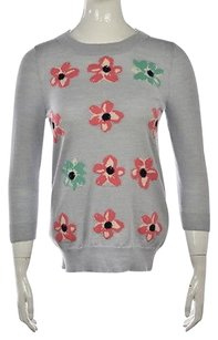J.Crew Womens Crew Neck Wool Floral 34 Sleeve Shirt Sweater