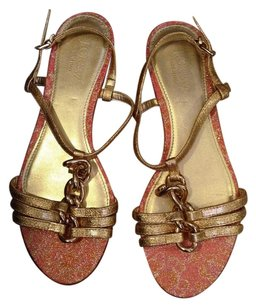 J.Crew Hardware Strappy PINK METALLIC JACQUARD GOLD Sandals