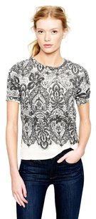 J.Crew Lace Printed Knit Terry T Shirt Ivory