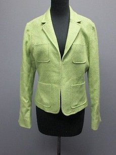 J.Crew J. Crew Light Green White Tweed Long Sleeves Lined One Hook Blazer Sm7797