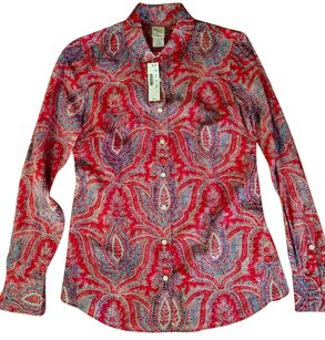 J.Crew J Crew Silk Blouse Button Down Shirt Print red and blue paisley