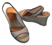 J.Crew Linen Open Toe Brown Trim Natural Wedges