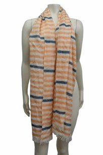 J.Crew J.crew Cream White Striped Fringe Light Weight Wool Scarf