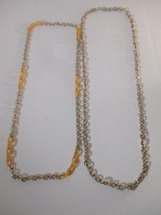 J.Crew J.crew Gold Link Yellow Cream Enamel Layering Necklace Set Of Piec