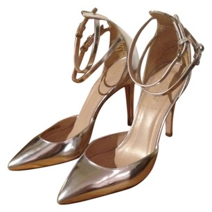 J.Crew Leather Ankle Strap Silver Pumps