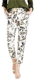 J.Crew Crew In Foil Leaf Slim Cropped Linen Relaxed Pants Gold