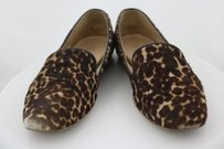 J.Crew Womens Animal Print Loafer Cow Hide Leather Casual Brown Flats