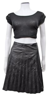 J.Crew Tall Faux Leather Pleated Skirt Black