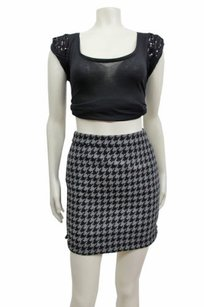 J.Crew Shirttail Mini In Houndstooth 00 Black Skirt Gray