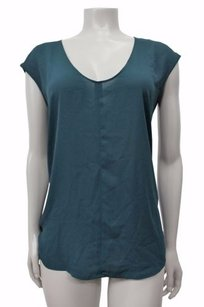 J.Crew Cap Sleeve Shirttail Top Forest Green