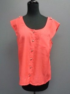 J.Crew Cap Sleeved Button Down Thin Scoop Neck Sma3459 Top Neon Pink