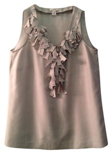 J.Crew Camisole Top STONE GRAY RUFFLE SILK CAMI BLOUSE TOP TANK
