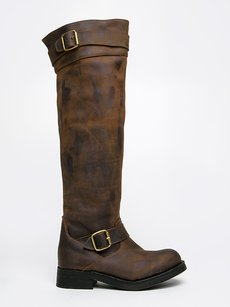 Jeffrey Campbell Knee High Hand-distressed Buckle Straps Leather Closed Toe Brown Boots